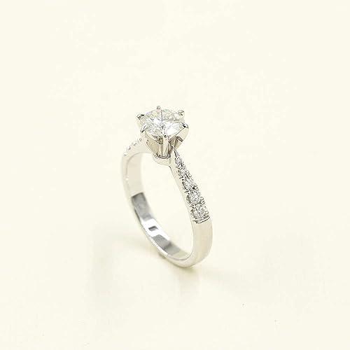 Amazon Com Solitaire Moissanite Engagement Ring Promise Bridal Ring Rose Gold Forever Brilliant Moissanite Round Cut Moissanite Simple Wedding Ring Handmade