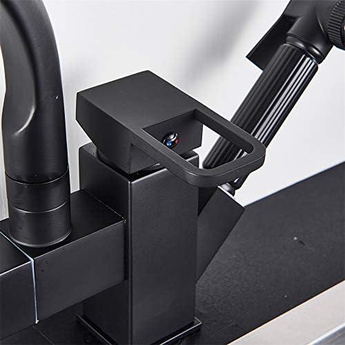 黒くされたクロムはスプレーの台所の流しのコックを引き出します360回転口シングルハンドルミキサータップ流しの蛇口