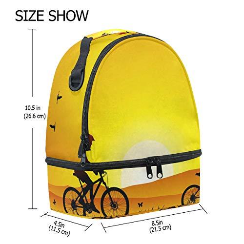 conducción nocturna de doble ajustable picnic para con correa Bolso almuerzo para bicicleta de 0xHZwwYUq