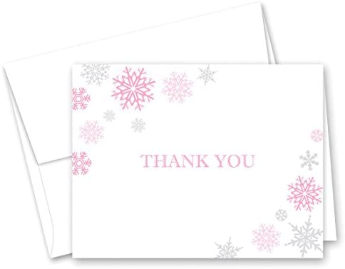 50 Cnt Snowflakes Thank You Cards Pink and Grey