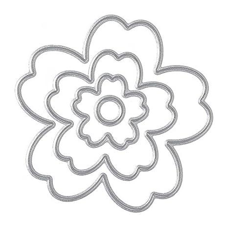 SODIAL 4 unids flor de corte muere plantilla del molde de la plantilla para la fabricacion de tarjetas de papel ...