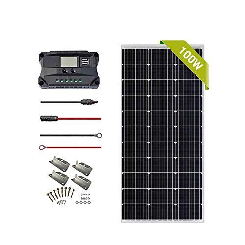 Newpowa 100w Monokristallin Solarmodul SolarKabeln und 12V PWM 20A SolarLaderegler Positiv-Erdung Camping, RV,Camper,Wohnwagen