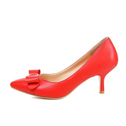 Lucksender Womens Scarpe A Punta Tacco Alto A Forma Di Gattino Con Fiocco Rosso