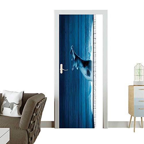 (Waterproof Decoration Door Decals Zombie H Come Out from Undead Be Devil Fantasy Themed Work Blue Perfect ornamentW17.1 x H78.7 INCH )