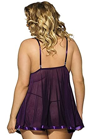 45f6c213991 IWISHME Women Plus Size Sequin Sexy Babydoll Lingeries at Amazon Women s  Clothing store