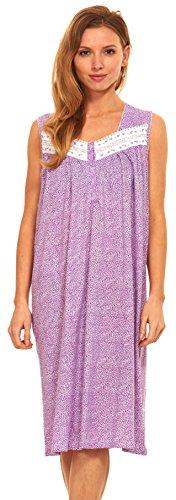Floopi Womens Nightgown Sleepwear Cotton Pajamas - Womans Sleeveless Sleep Dress Nightshirt (XL, Purple-00117)