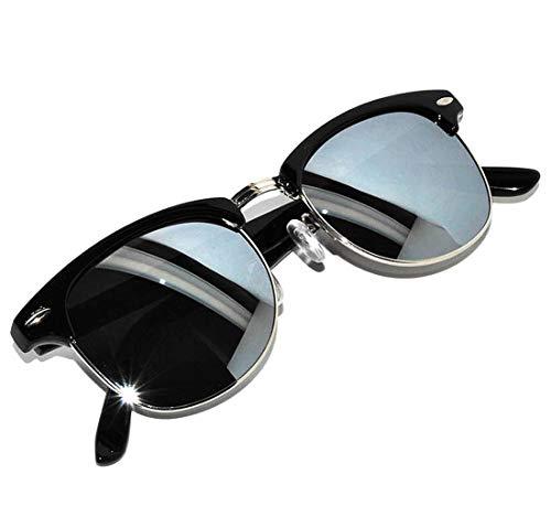 Half Frame Sunglasses Black Silver Metal Frame Silver Mirror Lens
