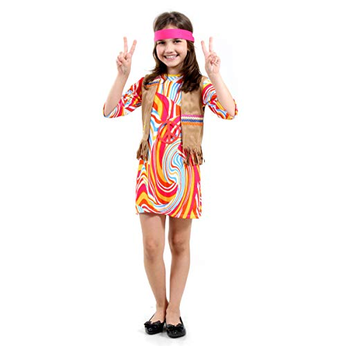 Fantasia Hippie Feminino Infantil Sulamericana Fantasias P 3/4 Anos