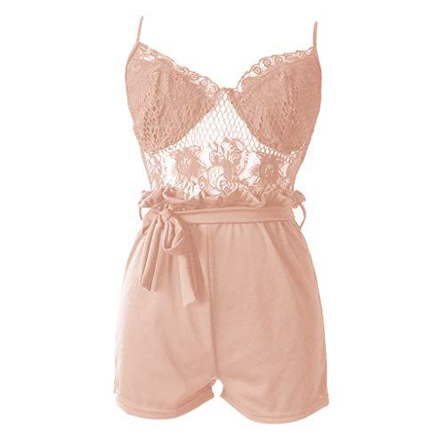 (LUXISDE Women Summer Fashion Lace Jumpsuits Vest Tank Top Casual Playsuit Short Pants KhakiL)