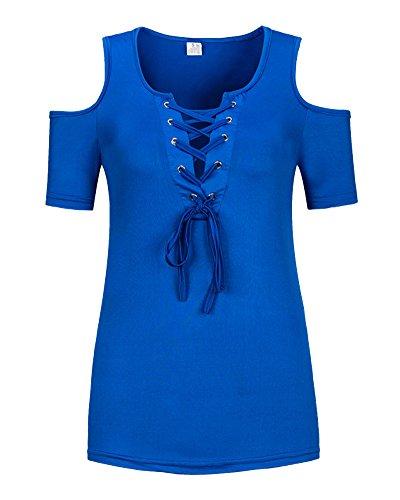 shirt Shifan Collo Corte Casual V Elegante Tops T Maniche Donna Marina Maglietta zWrz4aY