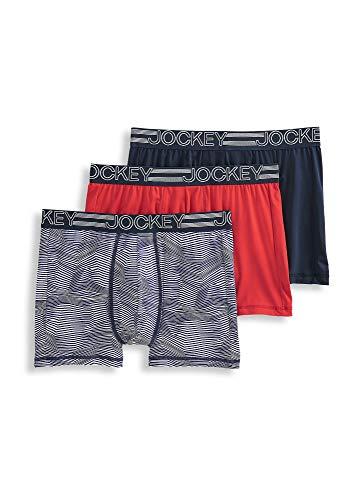 Jockey Men's Underwear Active Microfiber Boxer Brief - 3 Pack, Geranium Red/Jagged Navy and White/True Navy, L