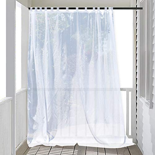 RYB HOME Extra Wide Patio Curtain Sheer Outdoor Curtains with Sliding Tab Top, Waterproof Weatherproof Privacy White Voile for Exterior Pergola Front Porch, 1 Bonus Rope, 100 inch Wide x 84 inch Long