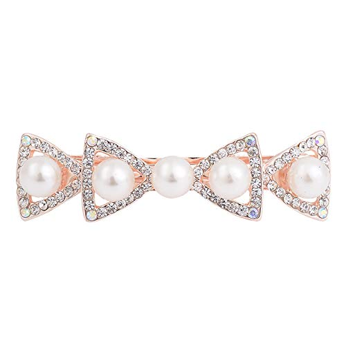 (Simple Crystal Rhinestone Star Bowknot Barrettes Hairpin Fashion Simulated Pearl Hair Accessories Clip For Women Girls Rhodium Plated)