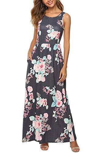 Zattcas Womens Summer Casual Sleeveless Printed Long Maxi Dress with Pockets,Dark Gray,Large