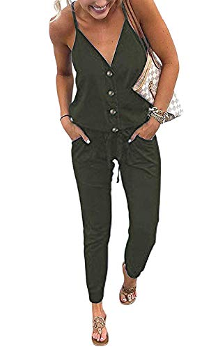 Womens V-neck Jumper - QEESMEI Women's Overall Romper V Neck Jumper Spaghetti Strap Drawstring Waisted Long Pants Playsuits
