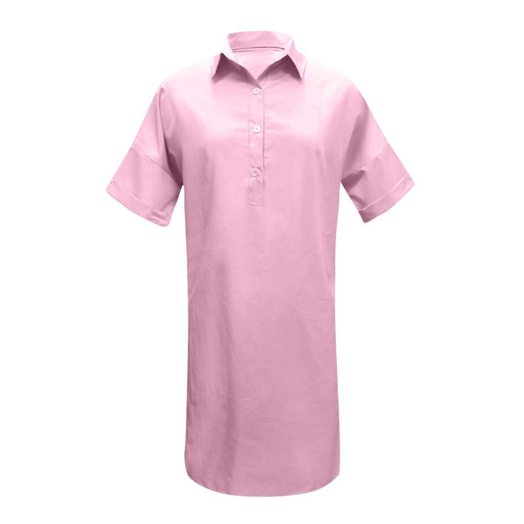 Nuewofally Shirt Dresses for Women Casual Solid Dress Button Open Cutout Sundress Fashion Vintage Dress Plus Size(Pink,S)