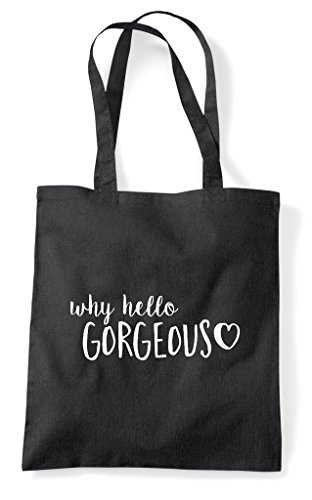 Why Statement Hello Tote Shopper Bag Gorgeous Black Pw8qrzPnx