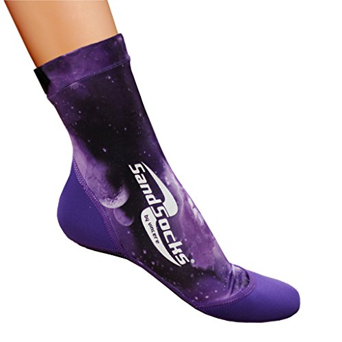 Vincere Sand Socks for Snorkeling, Beach Soccer, Sand Volleyball Purple Galaxy