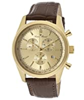 Lucien Piccard Men's LP-11570-YG-010 Eiger Brown/Goldtone Leather Watch from Lucky Press, LLC
