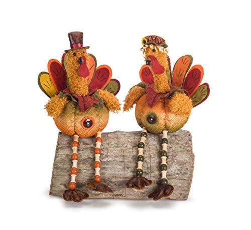 Melrose International Turkey Autumn Blend 18 inch Polyester Harvest Shelf Sitter Figurines Set of 2