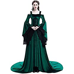 baycon Womens Renaissance Costumes Medieval Irish Dress Victorian Retro Gown Green Large