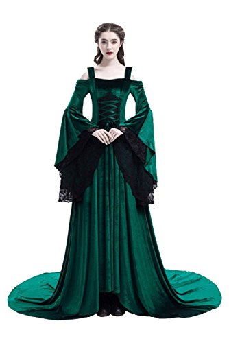 baycon Womens Renaissance Costumes Medieval Irish Dress Victorian Retro Gown Green -