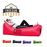 Freesun Inflatable Lounger | Indoor Poolside Hammock | Outdoor Camping Hiking Air Sofa | Portable Sack | Lightweight Couch for Beach, Backyard with Free Travel Bag, Neck Support Headrest (Red)