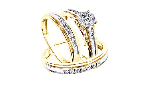 AFFY 3/4 Cttw White Natural Diamond Wedding Trio Ring Set in 10K Solid Yellow Gold (0.75 Carat, I-J Color, I2-I3 Clarity) Bezel Set Trio Diamond Band