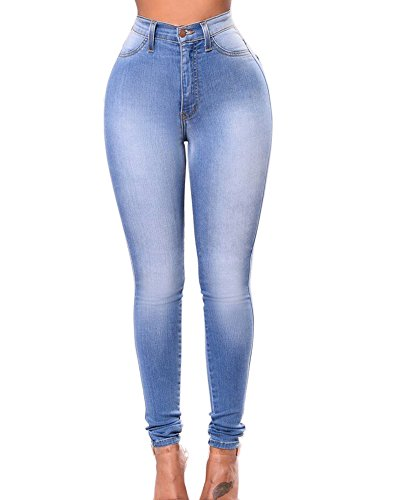Matita Elastico Azzurro À Chiaro Vita In Denim Leggings Skinny Donna Lunghi Pantaloni Zhuikuna Alta Jeans BW7aSwO