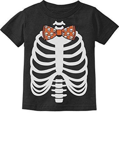 Halloween Costumes Shirt And Tie (Halloween Costume Skulls Bow Tie Skeleton Xray Rib Cage Toddler Kids T-Shirt 3T)