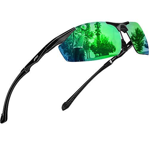 ATTCL Polarized UV Protection Sports Fishing Driving Sunglasses for Men Al-Mg Metal Frame Ultra Light Green
