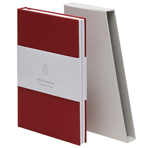 MOO Lined Hardcover Notebook - Premium A5 Lay Flat Journal - Thick 5x8 Paper for Writing and Work, Field Notes and Meetings (Wine Red/Lavender)