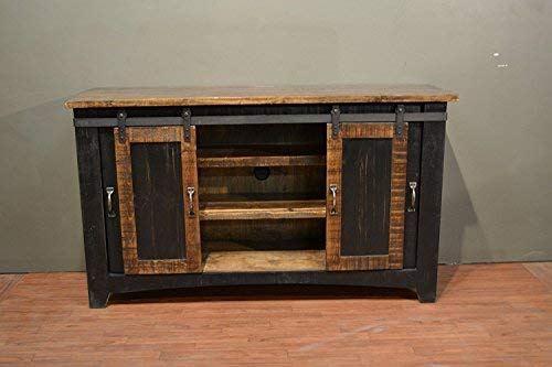 "Crafters and Weavers Greenview Black 70"" TV Stand/Sideboard/Console Table with Sliding Doors"