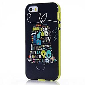 QJM Numbers Pattern Back Case Cover for iPhone5/5S