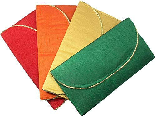Desi Favors Shagun Money Envelopes for Christmas/Weddings/Diwali - Pack of 4 Envelopes (Red, Yellow, Green, and Orange, with Gold Accent)