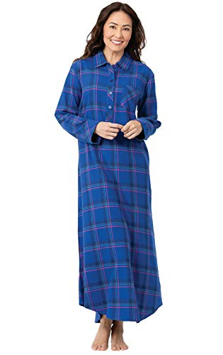 PajamaGram Night Gown for Women Flannel - Plaid Nightgown, Indigo, XL, 16