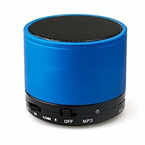 Portable Bluetooth Metal Wireless Mini Handsfree Mic Bass Round Speaker Blue