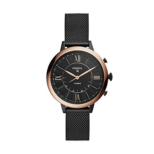 Fossil Women's Jacqueline Stainless Steel Mesh Hybrid Smartwatch, Color: Black (Model: FTW5030) (Fossil Watch Women Heart)