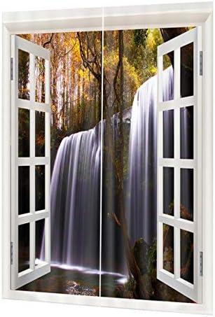 QinKingstore 洗えるドレープパネルシアー生地カーテン印刷ドア窓カーテン家の装飾