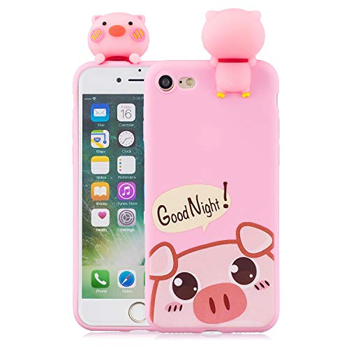 DAMONDY iPhone 8 Case,iPhone 7 Case,Cute 3D Cartoon Animals Pattern Design Soft Silicone Gel Slim Rubber Thin Protective Cover Phone Case for iPhone 7 / iPhone 8-Cute - Pigs Soft