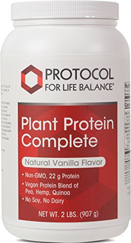 Protocol For Life Balance – Plant Protein Complete – Natural and Easy to Digest Vegan Protein Blend of Pea, Brown Rice, Hemp, and Quinoa – Natural Vanilla Flavor – 2 lbs. 907 g