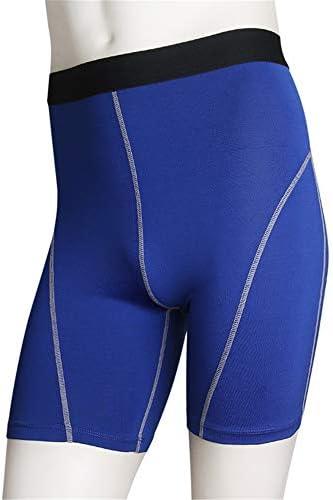 メンズコンプレッションショーツ メンズスポーツフィットネスはタイトなトレーニングショーツ弾性速乾性のショートを実行します 圧縮アクティブスポーツショーツ (色 : 青, Size : M)