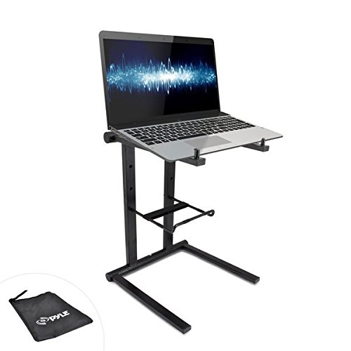 Pyle Portable Folding Laptop Stand - Standing Table with Foldable Height and Secondary Accessory Tray for iPad, Tablet, DJ Mixer,...