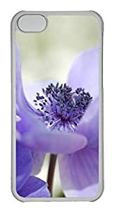 Customized iphone 5C PC Transparent Case - Purple Flower Cover