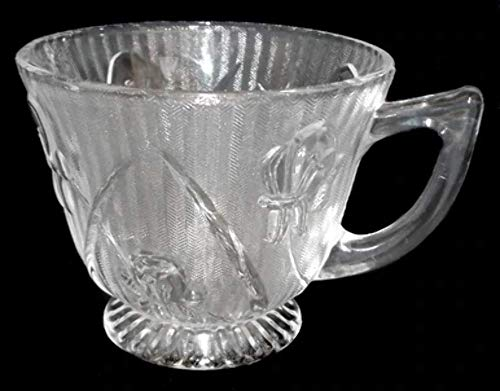 Vintage Clear Glass Jeannette Iris & Herringbone Depression Glass Footed Tea Cup - Iris And Herringbone Depression Glass