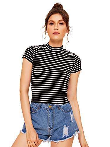 SheIn Women's Mock Neck Half Sleeve Slim Fit Ribbed Knit Tee T-Shirts X-Large Striped