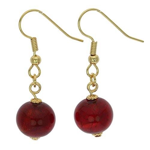 - GlassOfVenice Murano Glass Balls Earrings - Ruby Red