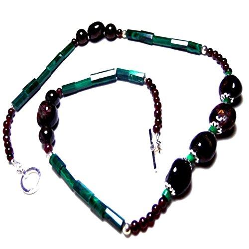 Midnight Garnet / Genuine Tubular Malachite 22 inch Strand Sterling Silver Necklaces Earring set