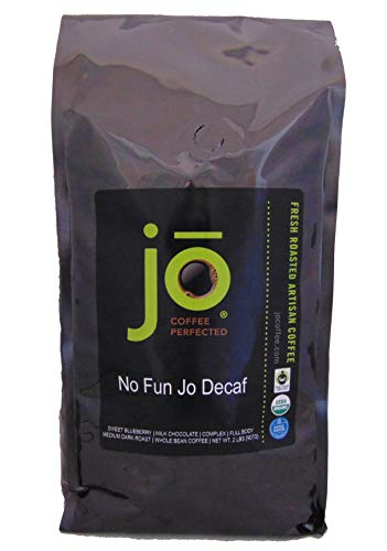 NO FUN JO DECAF: 2 lb, Organic Decaf Coffee, Swiss Water Process, Fair Trade Certified, Medium Dark Roast, Whole Bean Arabica Coffee, USDA Certified Organic, Chemical Free, Brewed or Decaf Espresso