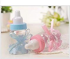 MINGZE 24 piezas Biberón de Plástico, Mini Botella de Caramelo Caja de Regalo para Fiesta Caramelo Recuerdo de Bautizo Ducha Baby Shower Cumpleaños Fiesta Bebé Favorece Decoraciones (Rosa): Amazon.es: Hogar
